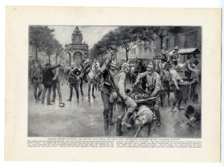 1914 WW1 PRINT Liège Belgium GERMAN TROOPS OCCUPYING PLACE DU MARCHE by Matania